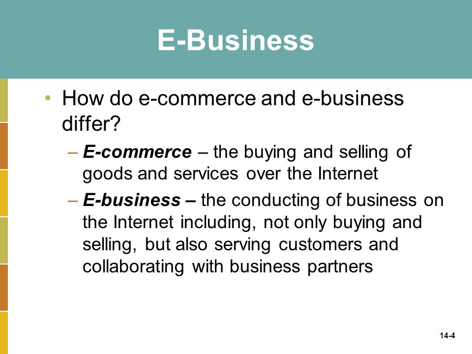 E-Business How do e-commerce and e-business differ