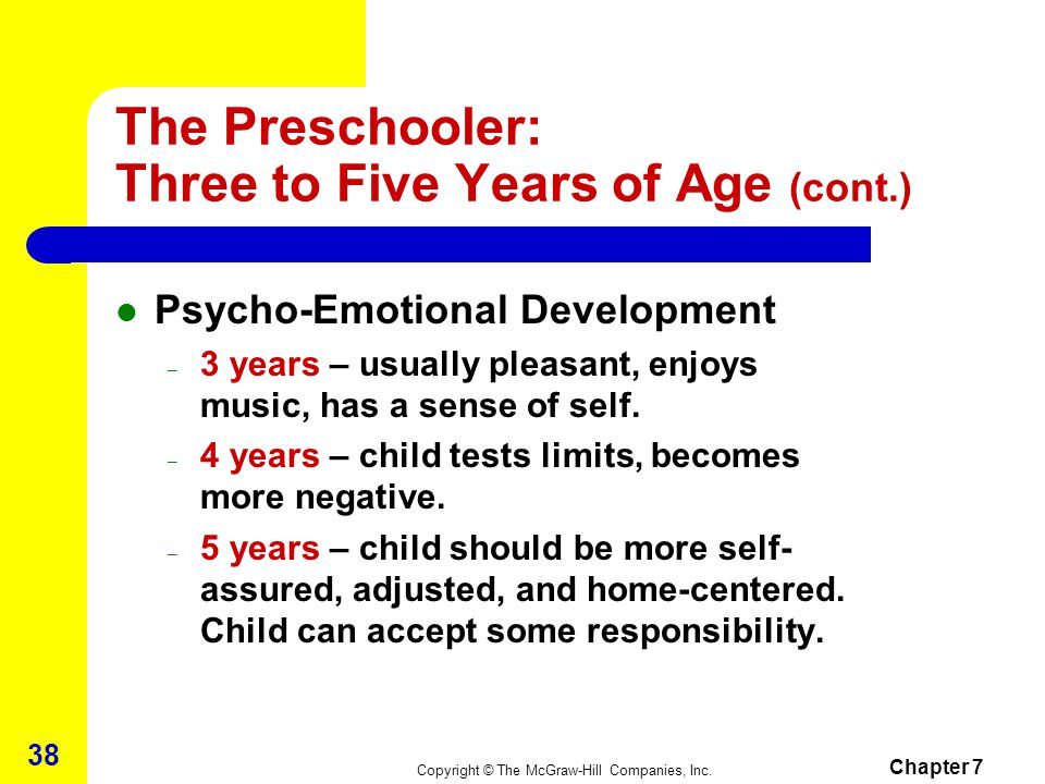 The Preschooler: Three to Five Years of Age (cont.)