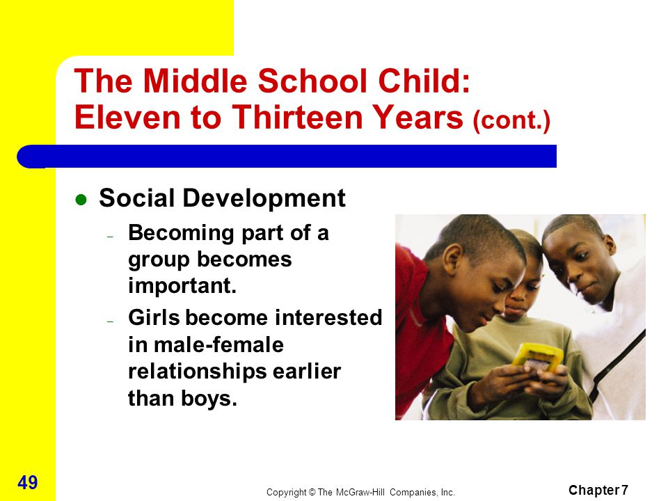 The Middle School Child: Eleven to Thirteen Years (cont.)