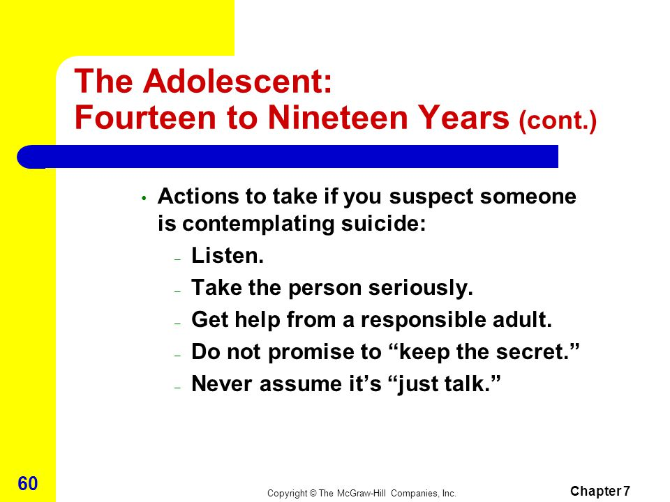 The Adolescent: Fourteen to Nineteen Years (cont.)