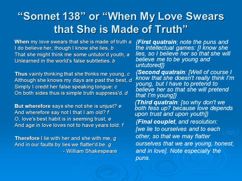 Sonnet 138 or When My Love Swears that She is Made of Truth