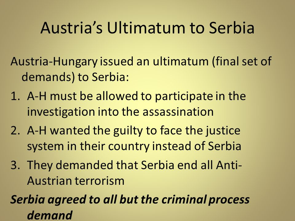 Austria's Ultimatum to Serbia
