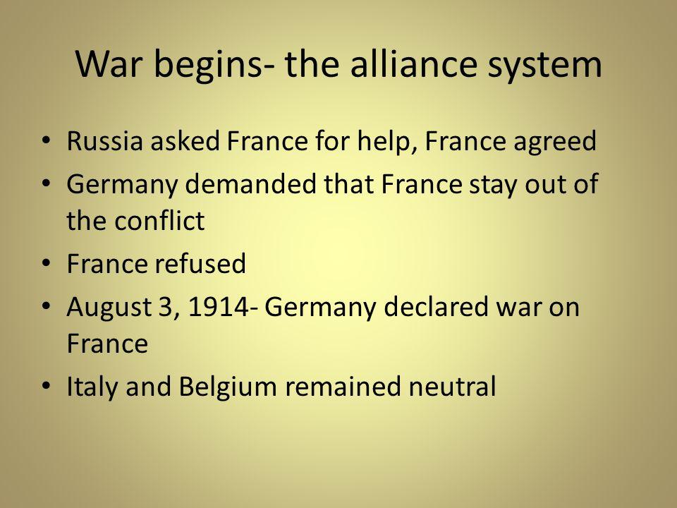 War begins- the alliance system