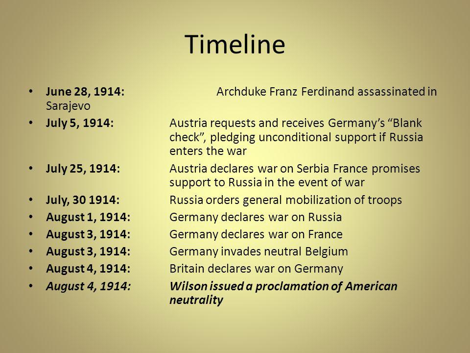 Timeline June 28, 1914: Archduke Franz Ferdinand assassinated in Sarajevo.