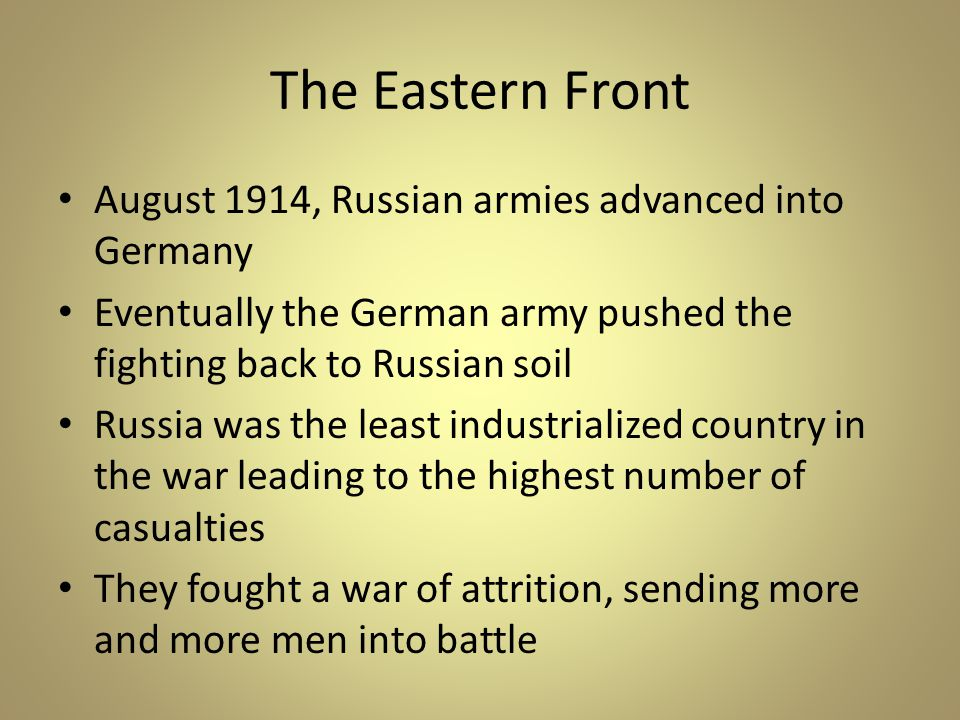 The Eastern Front August 1914, Russian armies advanced into Germany