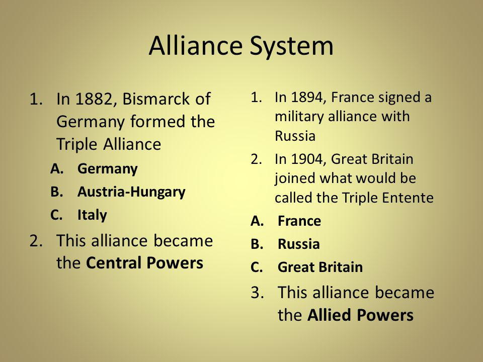 Alliance System In 1882, Bismarck of Germany formed the Triple Alliance. Germany. Austria-Hungary.