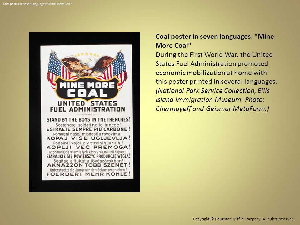 Coal poster in seven languages: Mine More Coal
