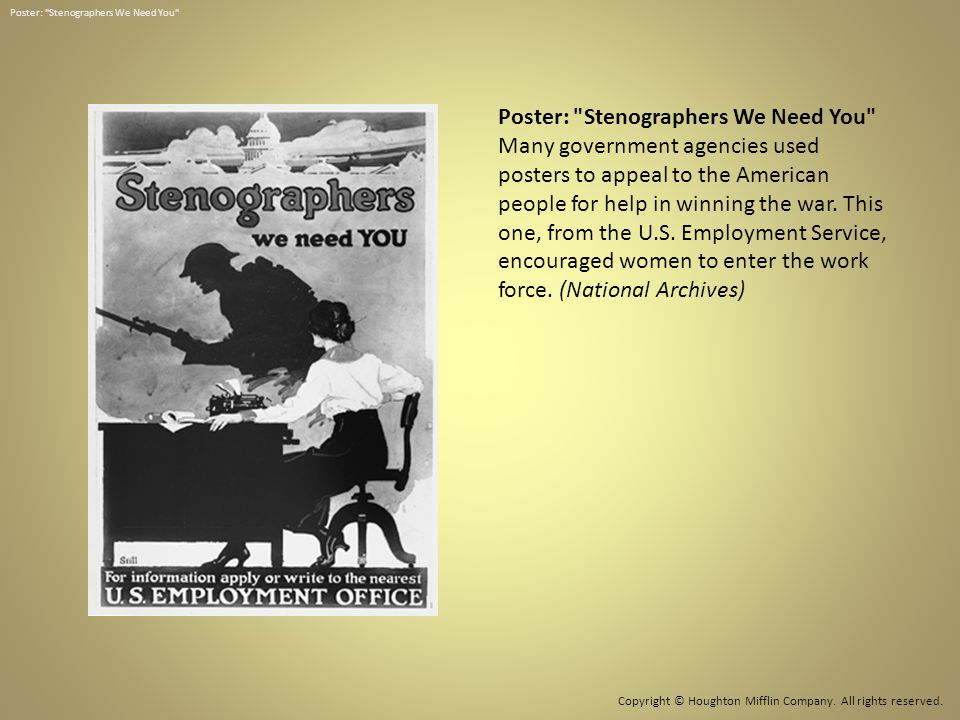 Poster: Stenographers We Need You