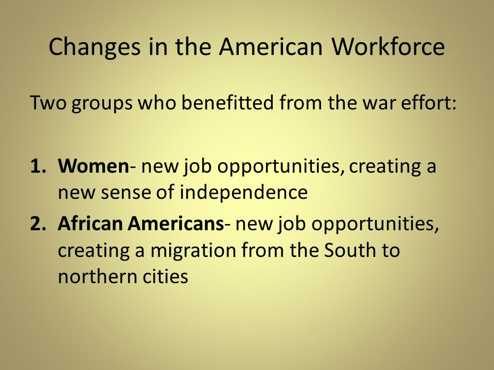 Changes in the American Workforce
