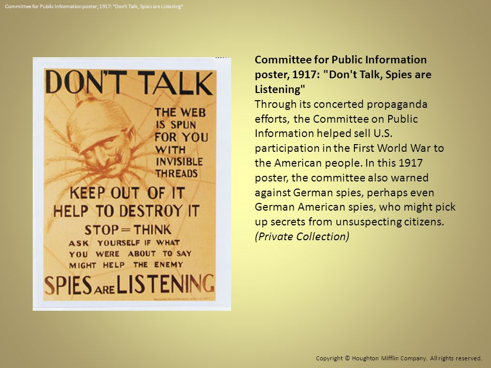 Committee for Public Information poster, 1917: Don t Talk, Spies are Listening