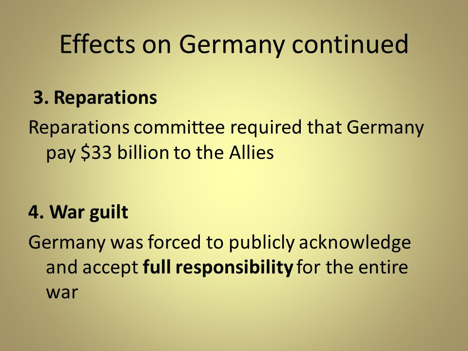 Effects on Germany continued