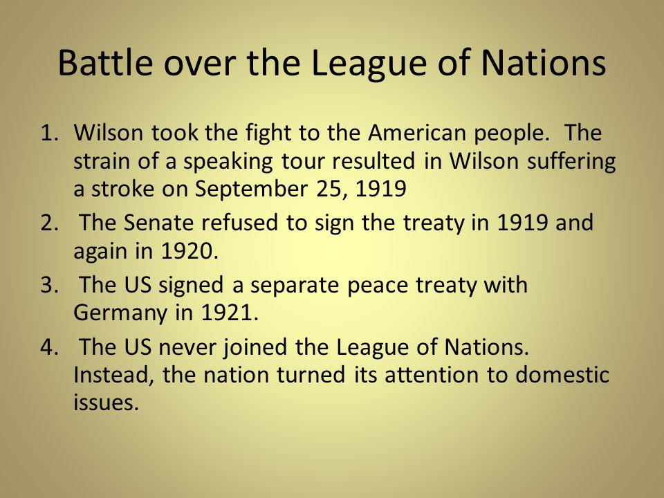Battle over the League of Nations