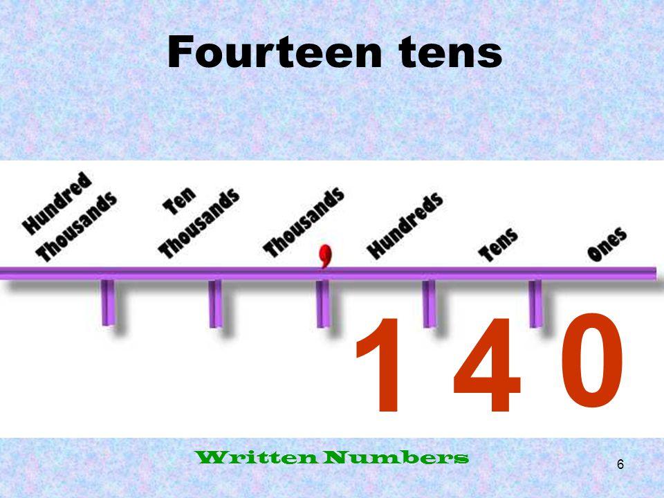 Fourteen tens 1 4 Written Numbers