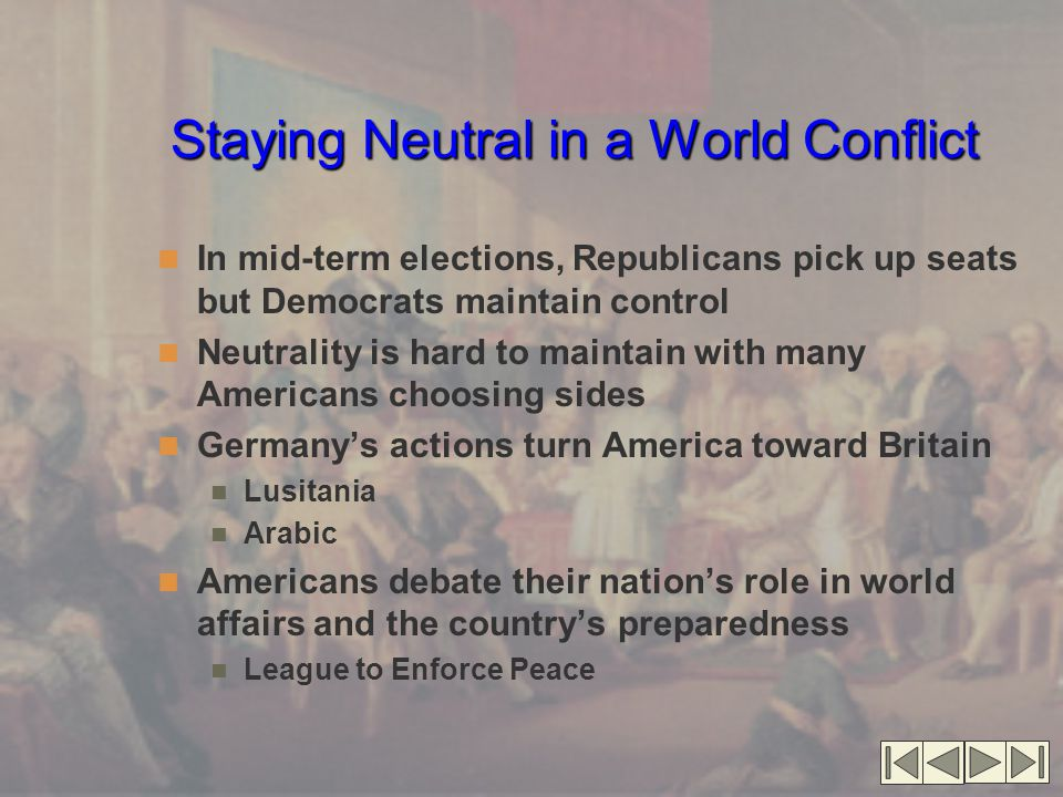 Staying Neutral in a World Conflict
