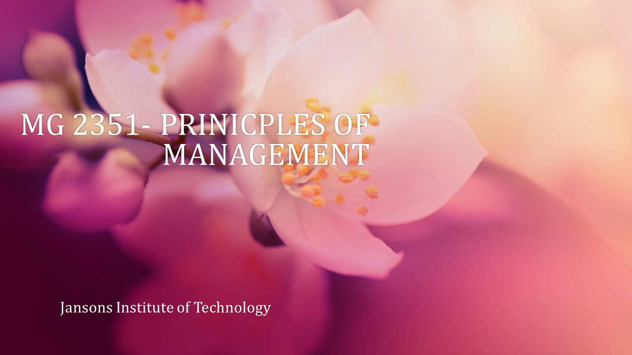 MG 2351- PRINICPLES OF MANAGEMENT