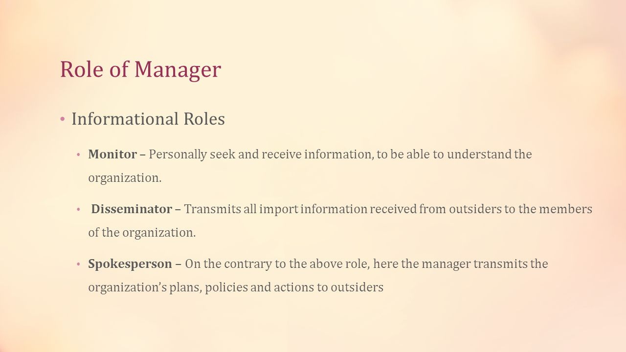 Role of Manager Informational Roles