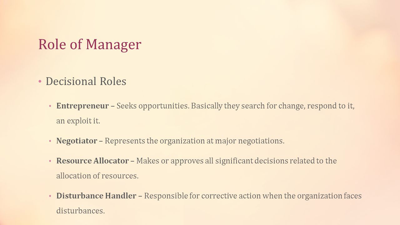 Role of Manager Decisional Roles