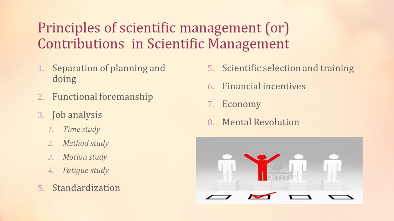 Principles of scientific management (or) Contributions in Scientific Management