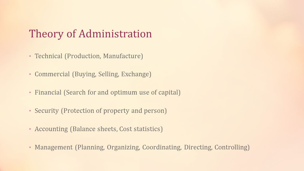 Theory of Administration