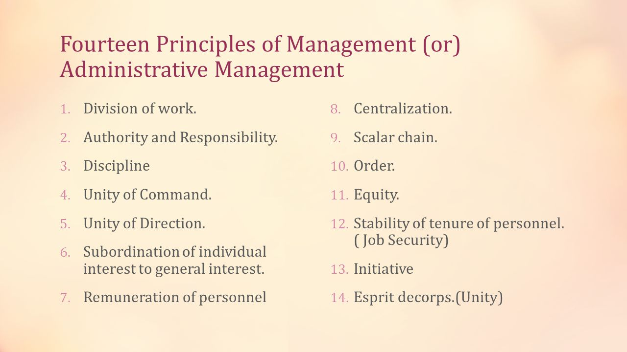 Fourteen Principles of Management (or) Administrative Management