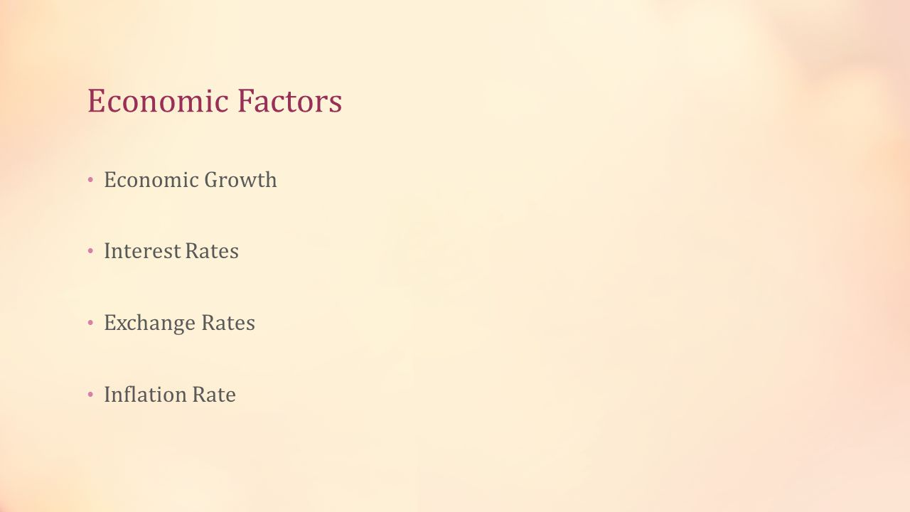 Economic Factors Economic Growth Interest Rates Exchange Rates