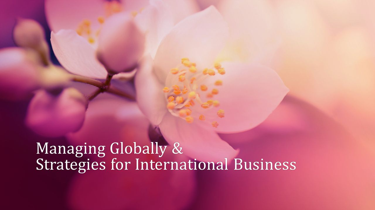 Managing Globally & Strategies for International Business