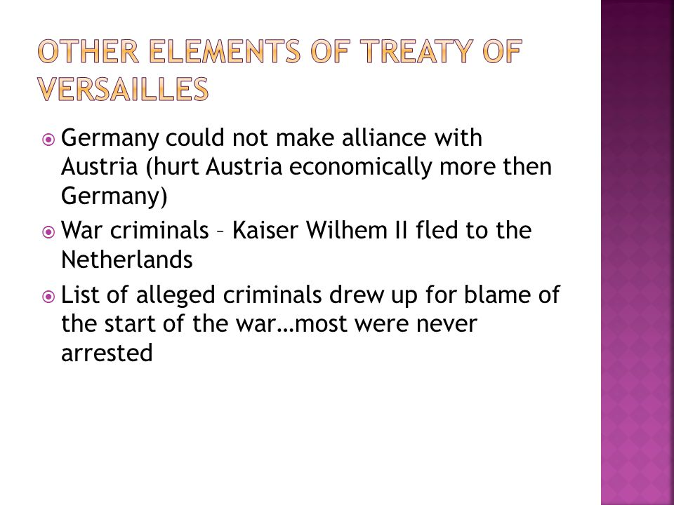 Other elements of treaty of Versailles