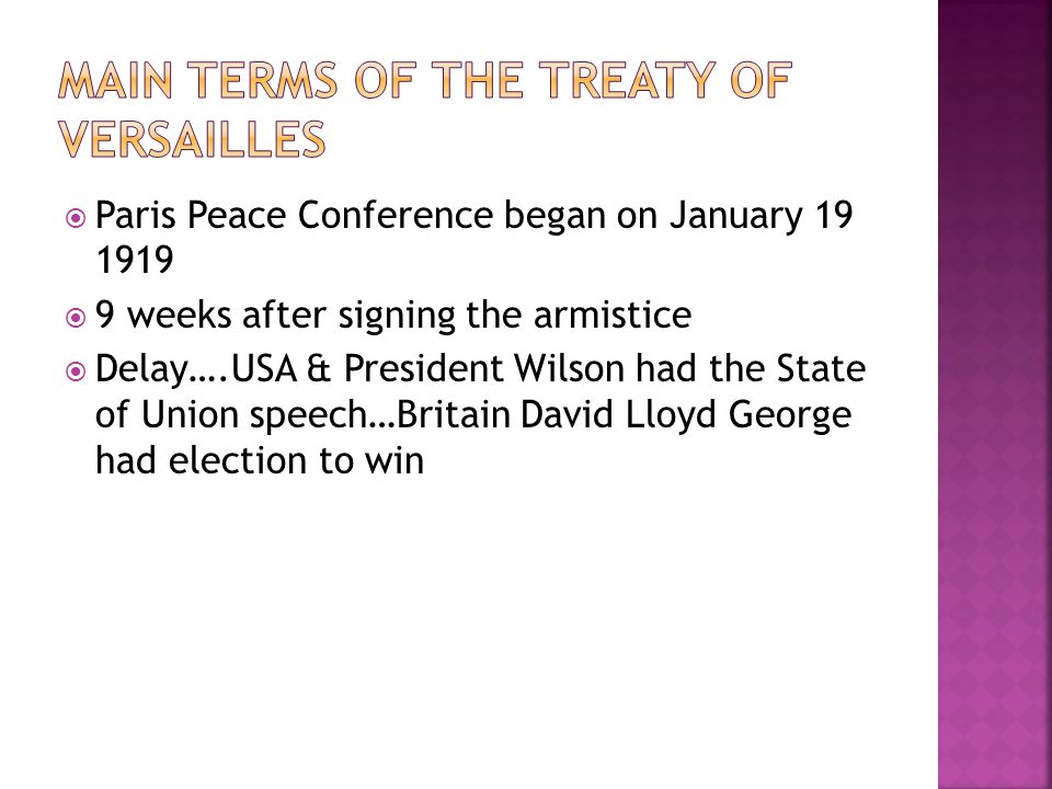 Main terms of the Treaty of Versailles