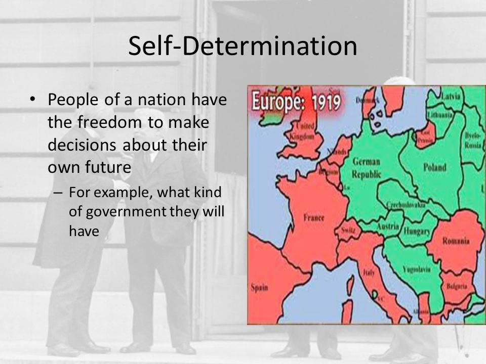 Self-Determination People of a nation have the freedom to make decisions about their own future.
