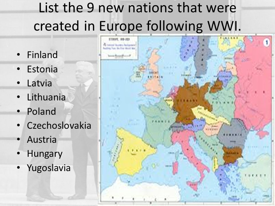 List the 9 new nations that were created in Europe following WWI.