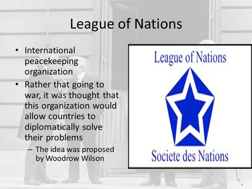 League of Nations International peacekeeping organization