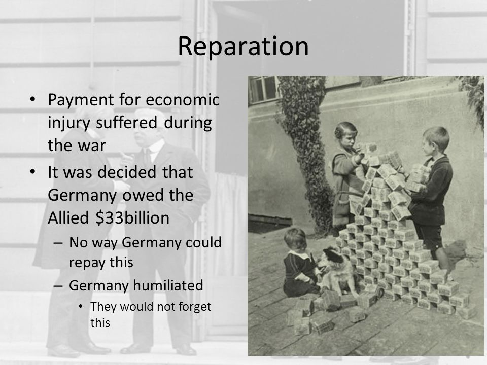Reparation Payment for economic injury suffered during the war