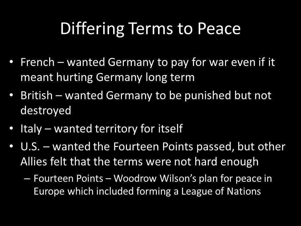 Differing Terms to Peace