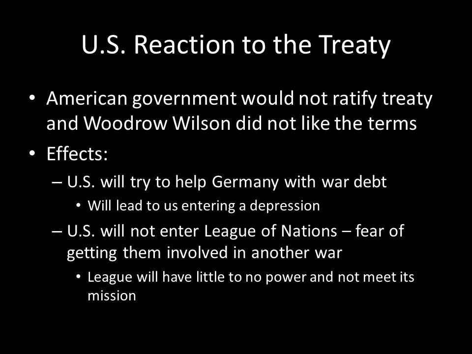 U.S. Reaction to the Treaty