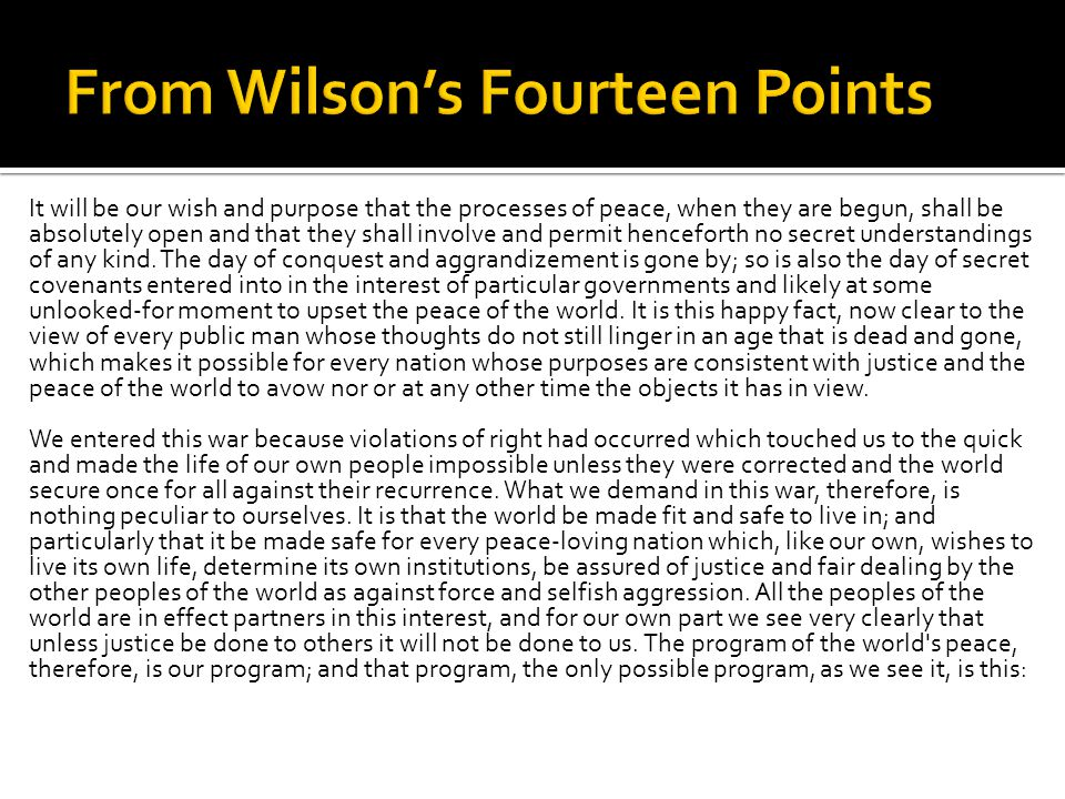 From Wilson's Fourteen Points