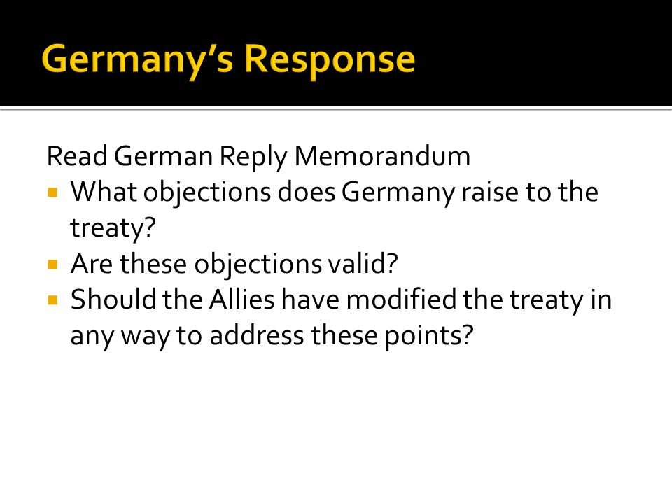 Germany's Response Read German Reply Memorandum