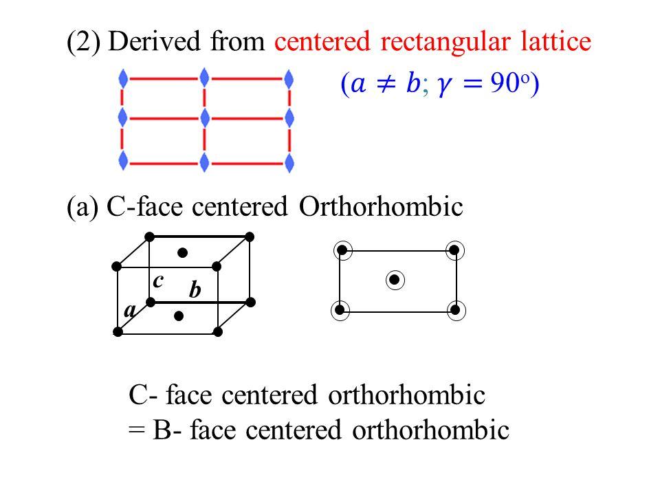 (2) Derived from centered rectangular lattice (𝑎≠𝑏; 𝛾= 90o)
