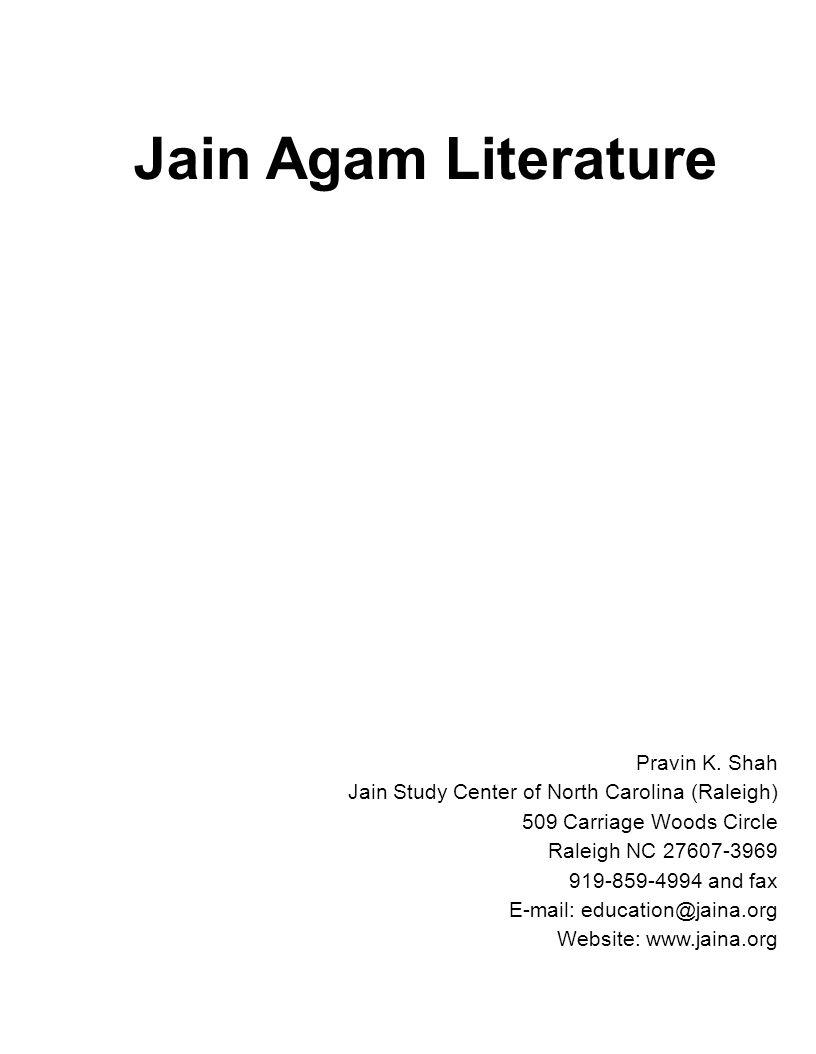 Jain Agam Literature Pravin K. Shah