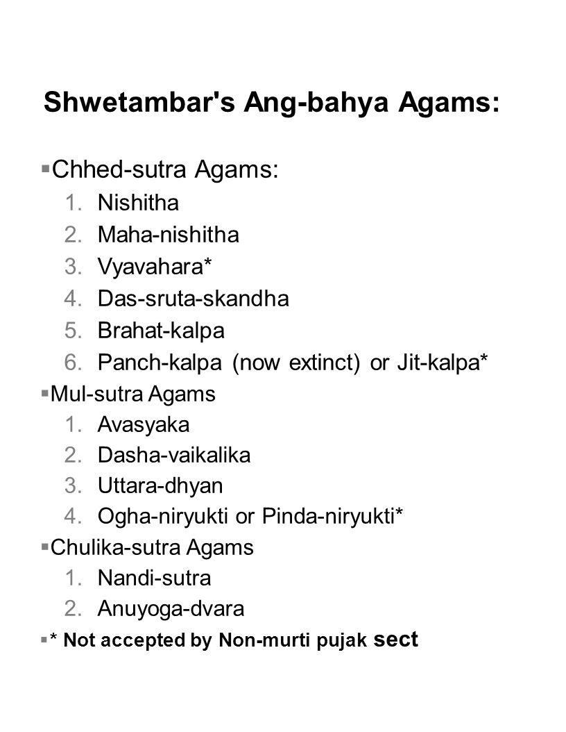 Shwetambar s Ang-bahya Agams: