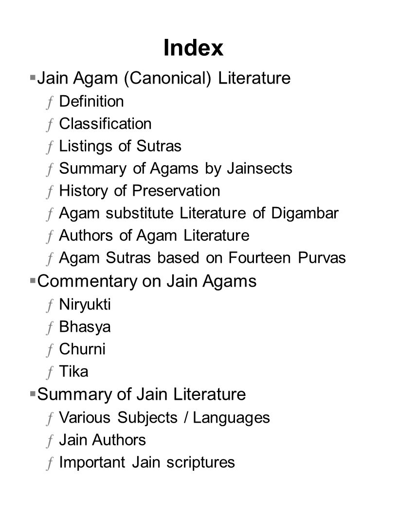 Index Jain Agam (Canonical) Literature Commentary on Jain Agams
