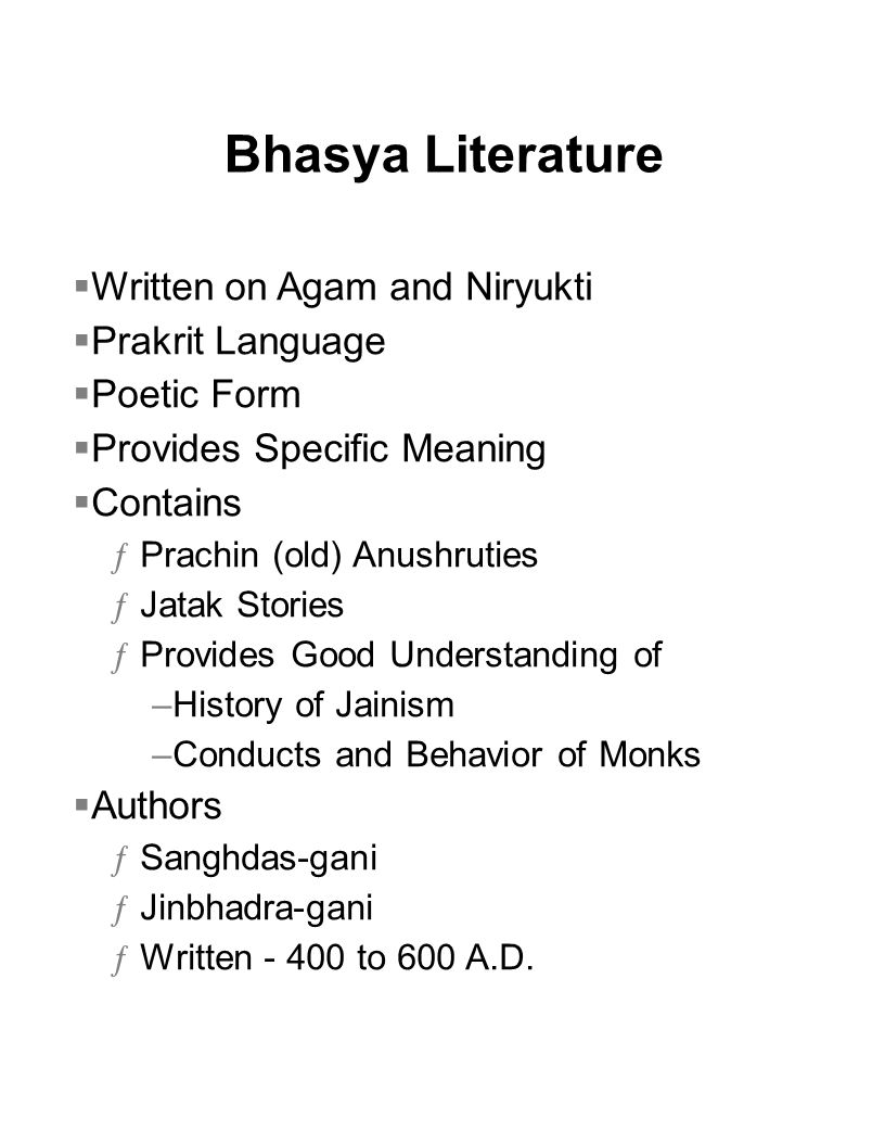 Bhasya Literature Written on Agam and Niryukti Prakrit Language