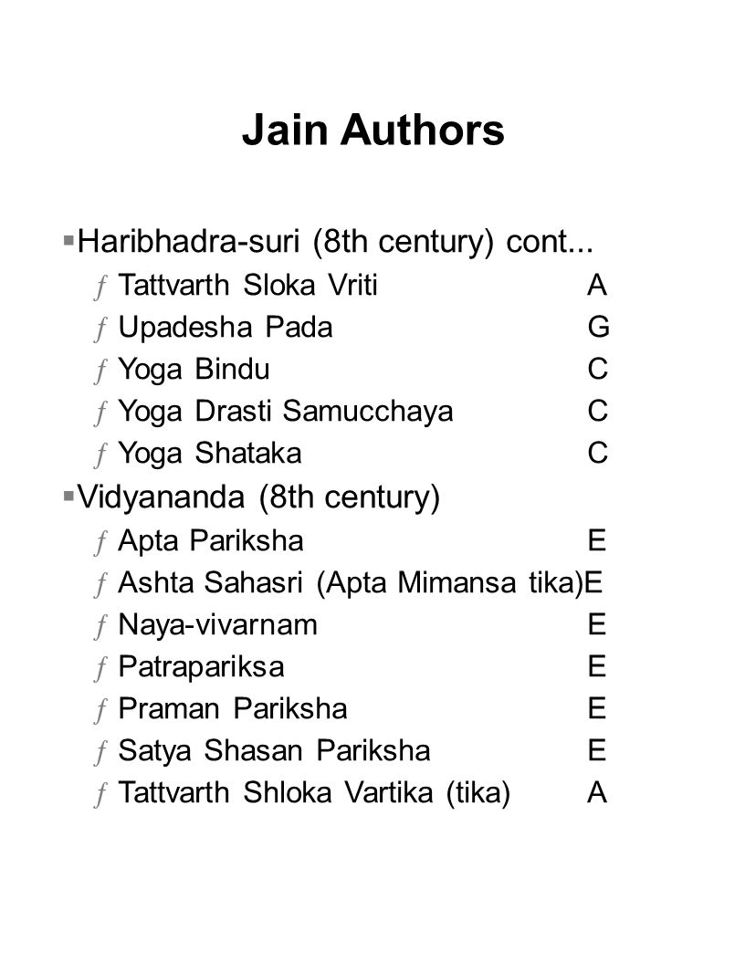 Jain Authors Haribhadra-suri (8th century) cont...