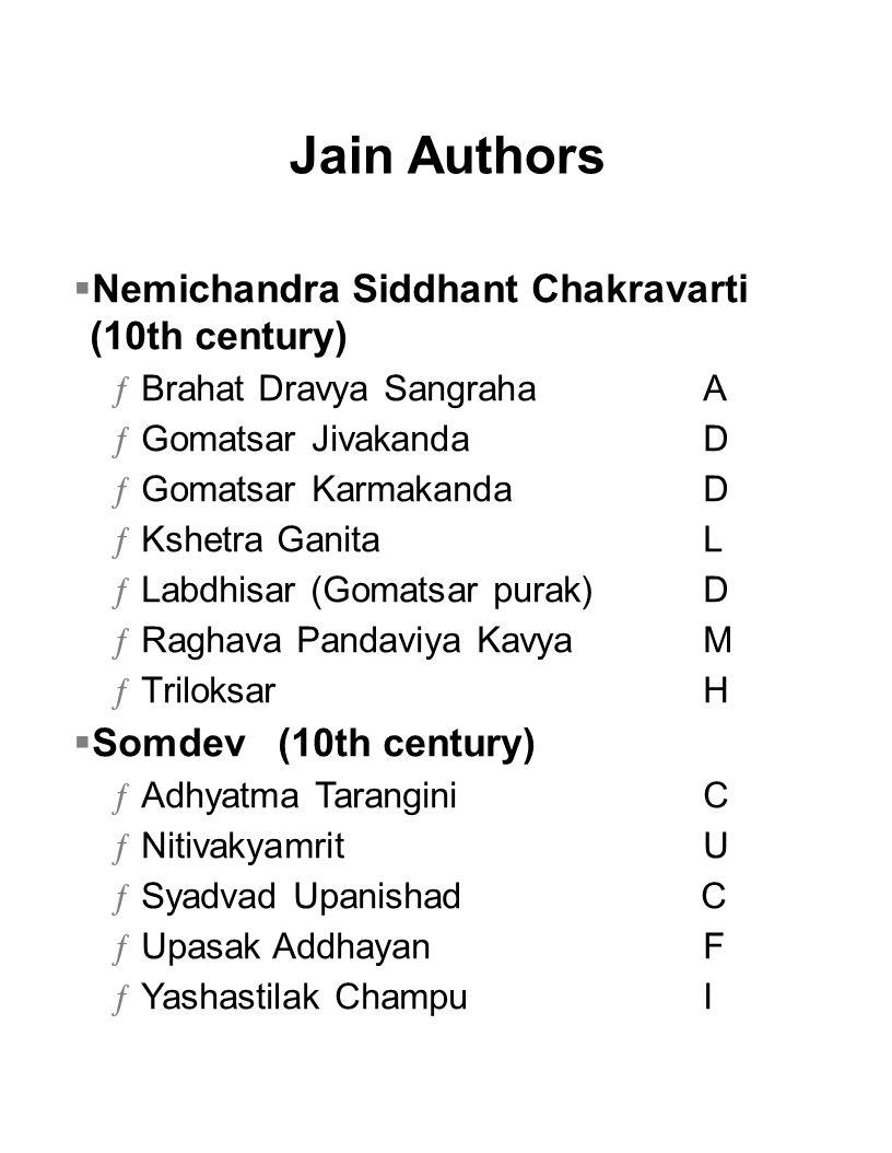 Jain Authors Nemichandra Siddhant Chakravarti (10th century)