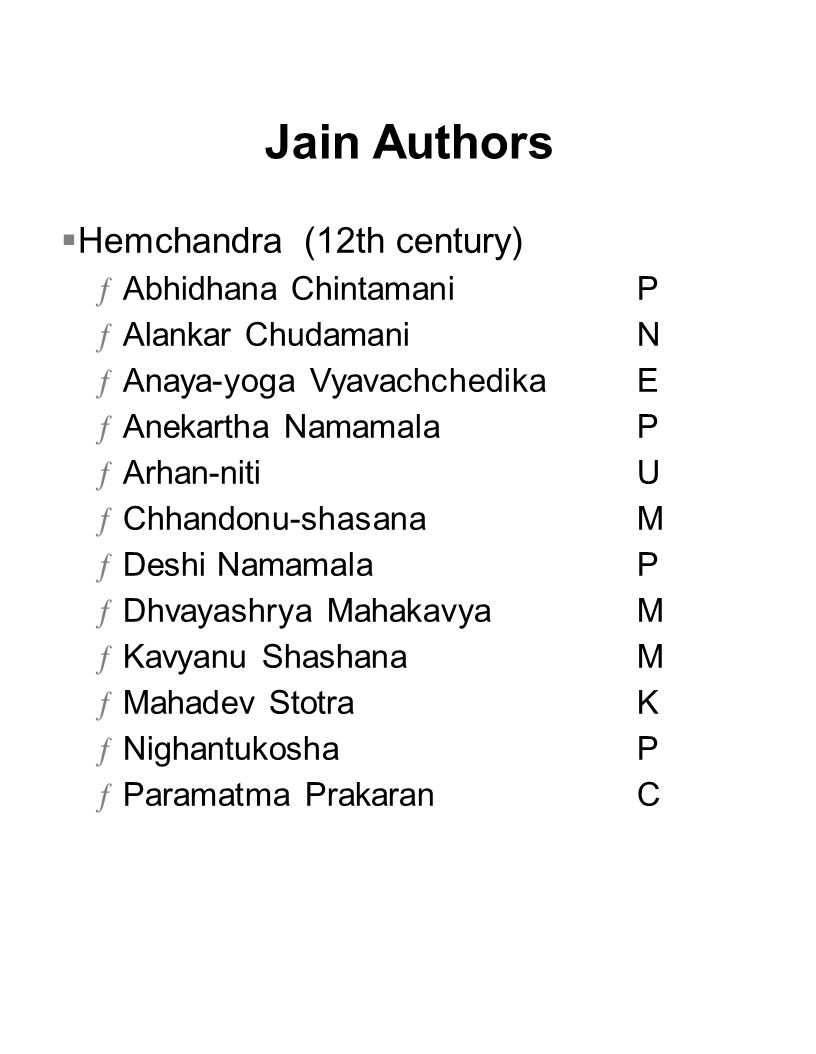 Jain Authors Hemchandra (12th century) Abhidhana Chintamani P