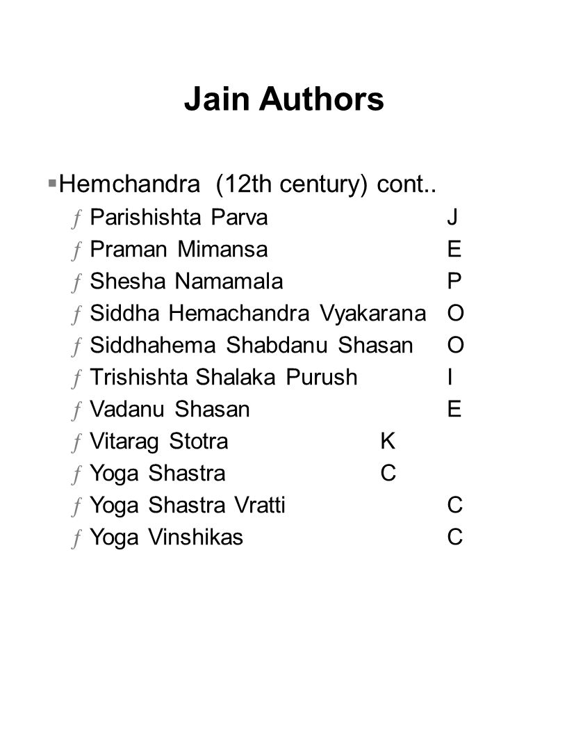 Jain Authors Hemchandra (12th century) cont.. Parishishta Parva J