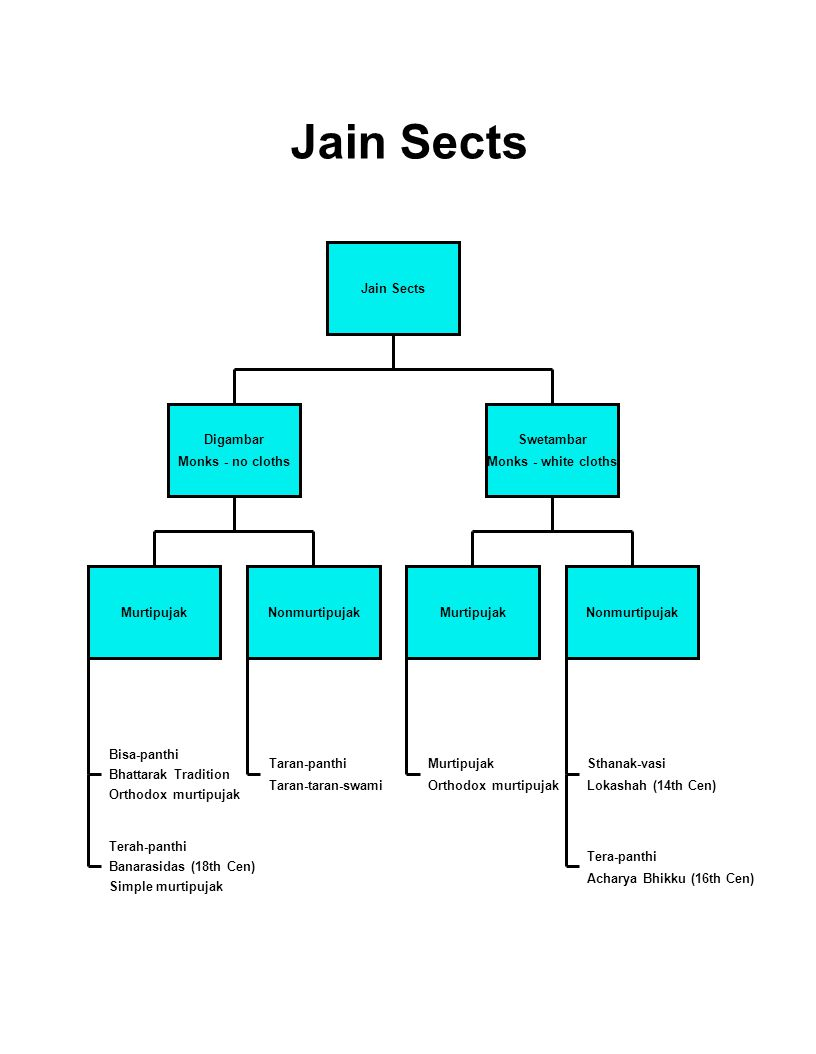 Jain Sects Jain Sects Digambar Monks - no cloths Swetambar