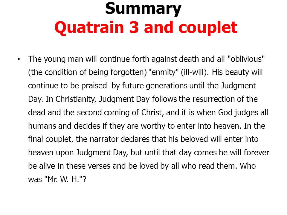 Summary Quatrain 3 and couplet
