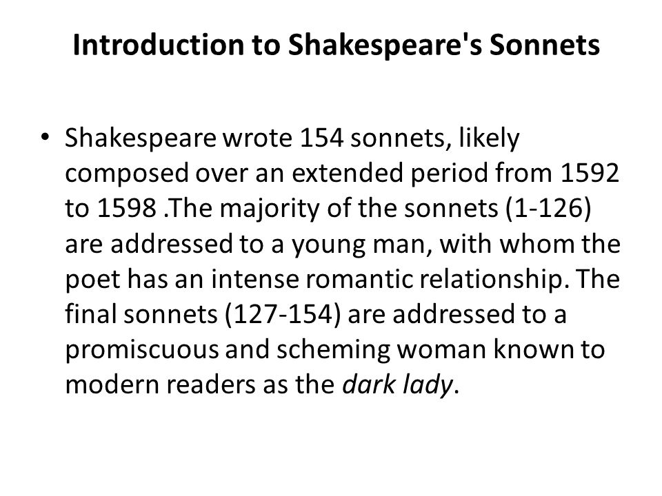 Introduction to Shakespeare s Sonnets