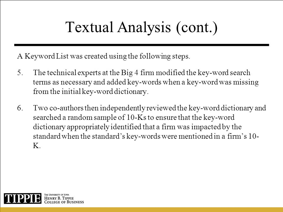 Textual Analysis (cont.)