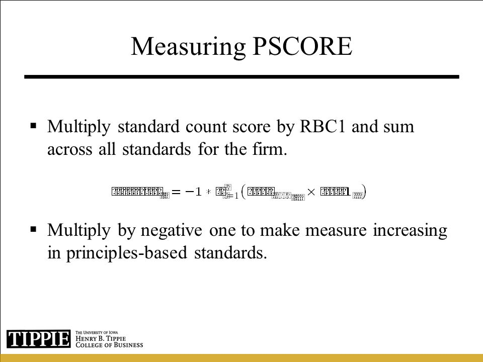 Measuring PSCORE Multiply standard count score by RBC1 and sum across all standards for the firm.